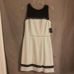 Black lace neckline dress